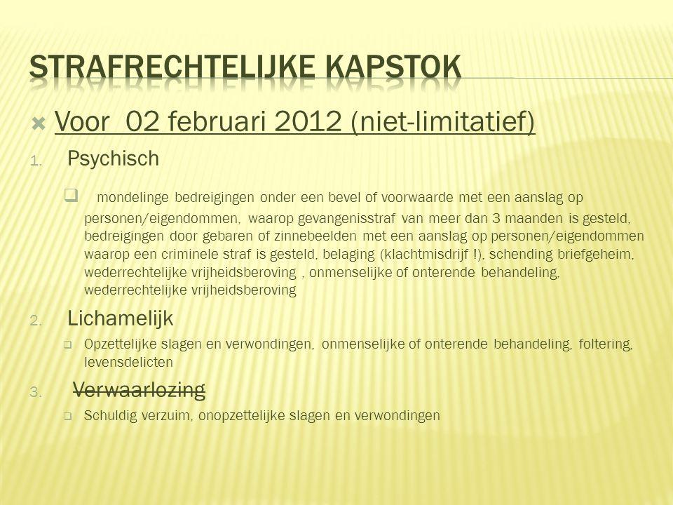  Voor 02 februari 2012 (niet-limitatief) 1.