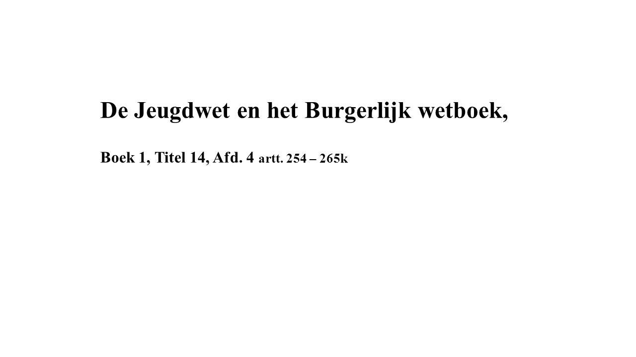De Jeugdwet en het Burgerlijk wetboek, Boek 1, Titel 14, Afd. 4 artt. 254 – 265k