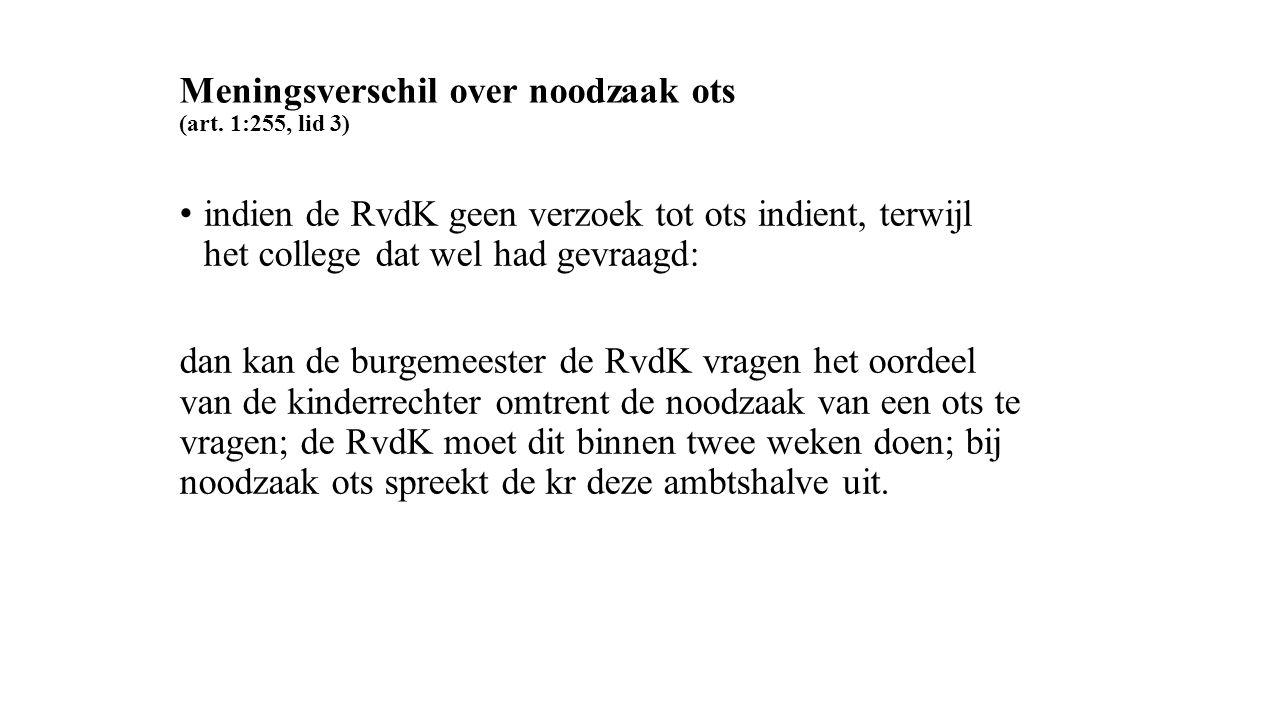 Meningsverschil over noodzaak ots (art. 1:255, lid 3) indien de RvdK geen verzoek tot ots indient, terwijl het college dat wel had gevraagd: dan kan d