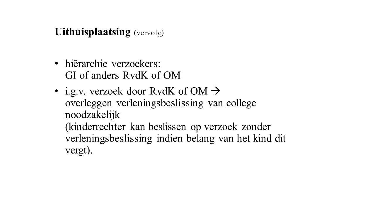 Uithuisplaatsing (vervolg) hiërarchie verzoekers: GI of anders RvdK of OM i.g.v. verzoek door RvdK of OM  overleggen verleningsbeslissing van college