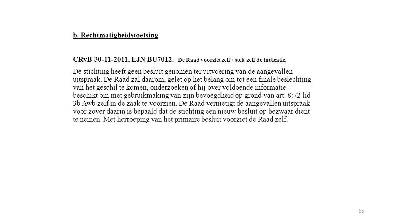 b. Rechtmatigheidstoetsing CRvB 30-11-2011, LJN BU7012. De Raad voorziet zelf / stelt zelf de indicatie. De stichting heeft geen besluit genomen ter u