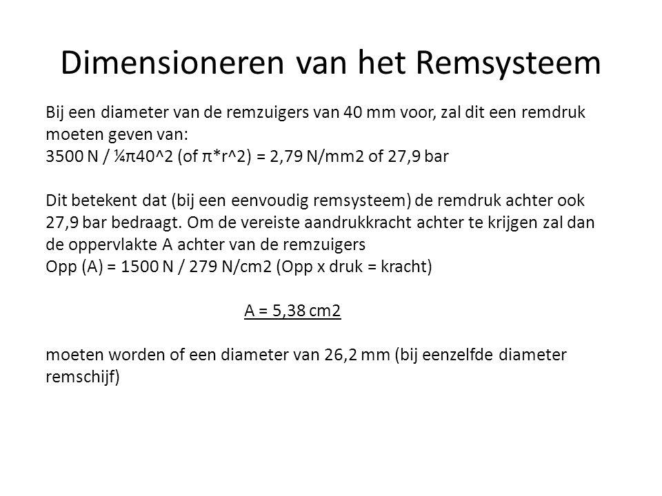 Bij een diameter van de remzuigers van 40 mm voor, zal dit een remdruk moeten geven van: 3500 N / ¼π40^2 (of π*r^2) = 2,79 N/mm2 of 27,9 bar Dit betekent dat (bij een eenvoudig remsysteem) de remdruk achter ook 27,9 bar bedraagt.