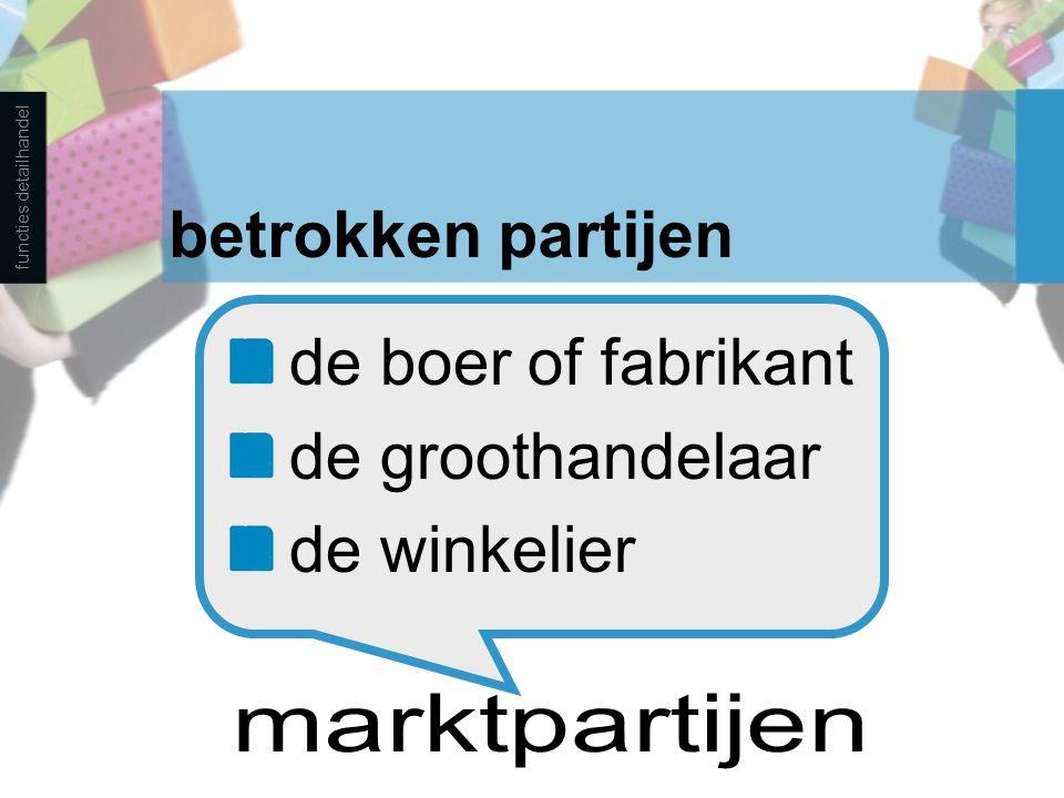betrokken partijen de boer of fabrikant de groothandelaar de winkelier functies detailhandel