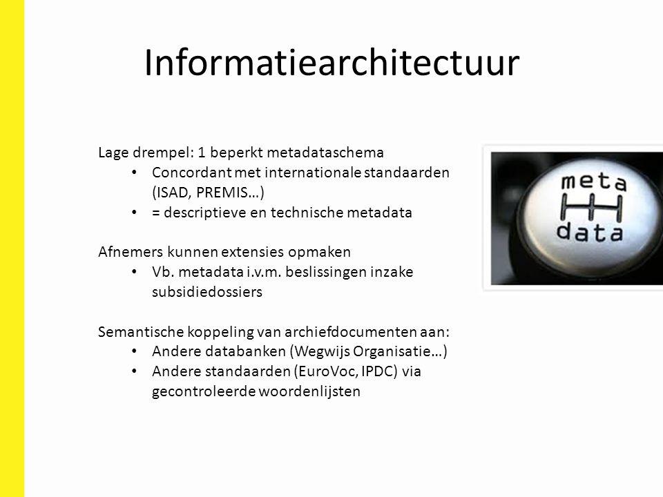 Informatiearchitectuur Lage drempel: 1 beperkt metadataschema Concordant met internationale standaarden (ISAD, PREMIS…) = descriptieve en technische metadata Afnemers kunnen extensies opmaken Vb.