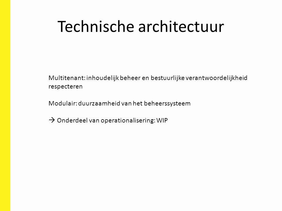 Technische architectuur Multitenant: inhoudelijk beheer en bestuurlijke verantwoordelijkheid respecteren Modulair: duurzaamheid van het beheerssysteem  Onderdeel van operationalisering: WIP