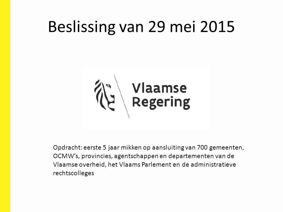 Beslissing van 29 mei 2015 Opdracht: eerste 5 jaar mikken op aansluiting van 700 gemeenten, OCMW's, provincies, agentschappen en departementen van de Vlaamse overheid, het Vlaams Parlement en de administratieve rechtscolleges
