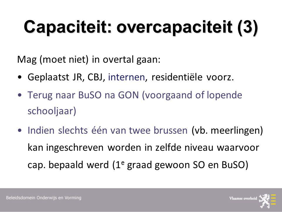 Capaciteit: overcapaciteit (3) Mag (moet niet) in overtal gaan: Geplaatst JR, CBJ, internen, residentiële voorz.