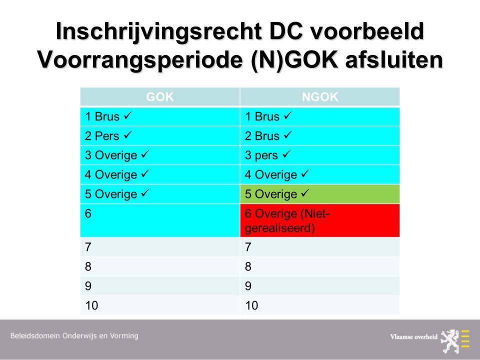 Inschrijvingsrecht DC voorbeeld Voorrangsperiode (N)GOK afsluiten