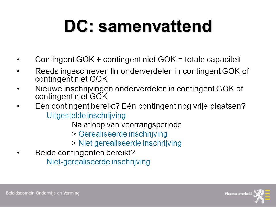 DC: samenvattend Contingent GOK + contingent niet GOK = totale capaciteit Reeds ingeschreven lln onderverdelen in contingent GOK of contingent niet GOK Nieuwe inschrijvingen onderverdelen in contingent GOK of contingent niet GOK Eén contingent bereikt.
