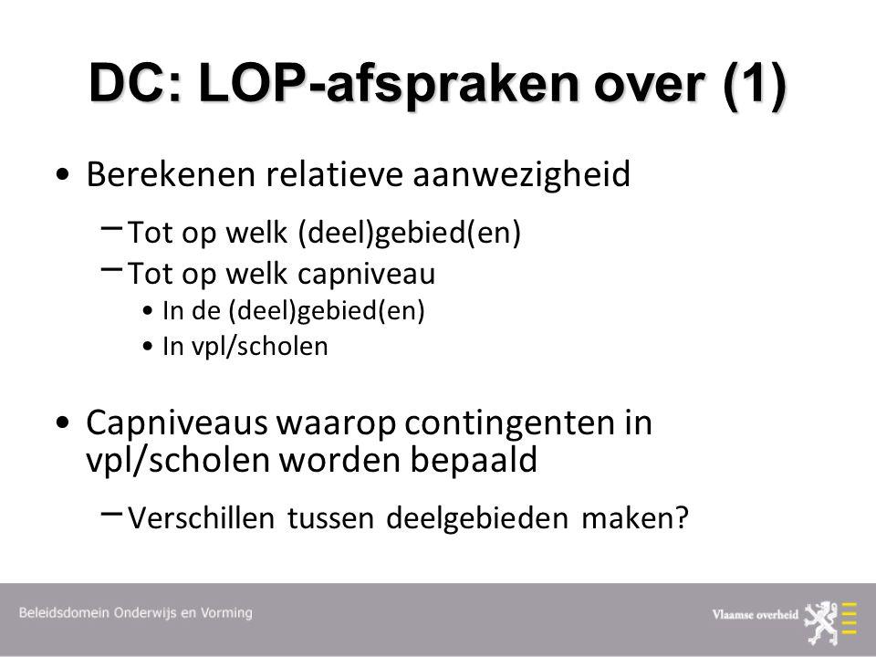 DC: LOP-afspraken over (1) Berekenen relatieve aanwezigheid  Tot op welk (deel)gebied(en)  Tot op welk capniveau In de (deel)gebied(en) In vpl/scholen Capniveaus waarop contingenten in vpl/scholen worden bepaald  Verschillen tussen deelgebieden maken