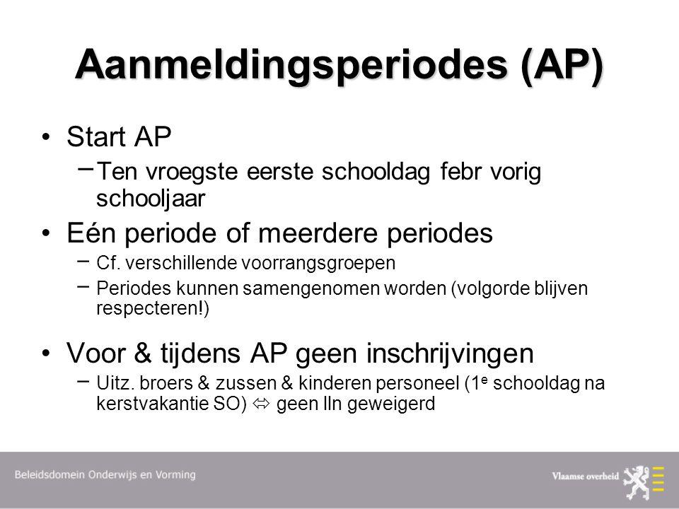 Aanmeldingsperiodes (AP) Start AP  Ten vroegste eerste schooldag febr vorig schooljaar Eén periode of meerdere periodes  Cf.