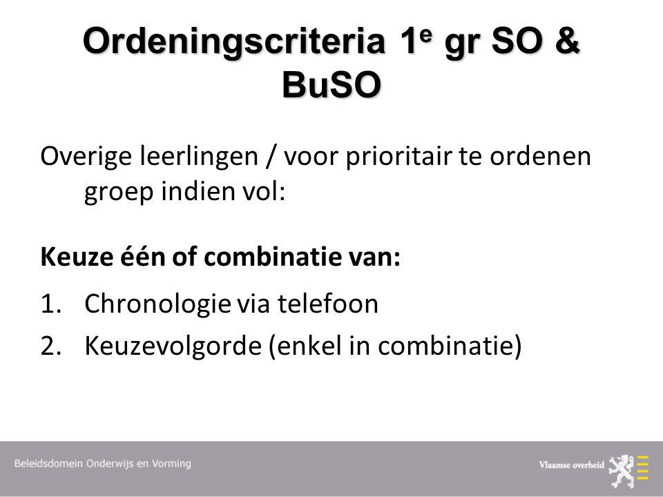 Ordeningscriteria 1 e gr SO & BuSO Overige leerlingen / voor prioritair te ordenen groep indien vol: Keuze één of combinatie van: 1.Chronologie via telefoon 2.Keuzevolgorde (enkel in combinatie)