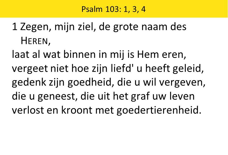 Psalm 103: 1, 3, 4 1 Zegen, mijn ziel, de grote naam des H EREN, laat al wat binnen in mij is Hem eren, vergeet niet hoe zijn liefd u heeft geleid, gedenk zijn goedheid, die u wil vergeven, die u geneest, die uit het graf uw leven verlost en kroont met goedertierenheid.