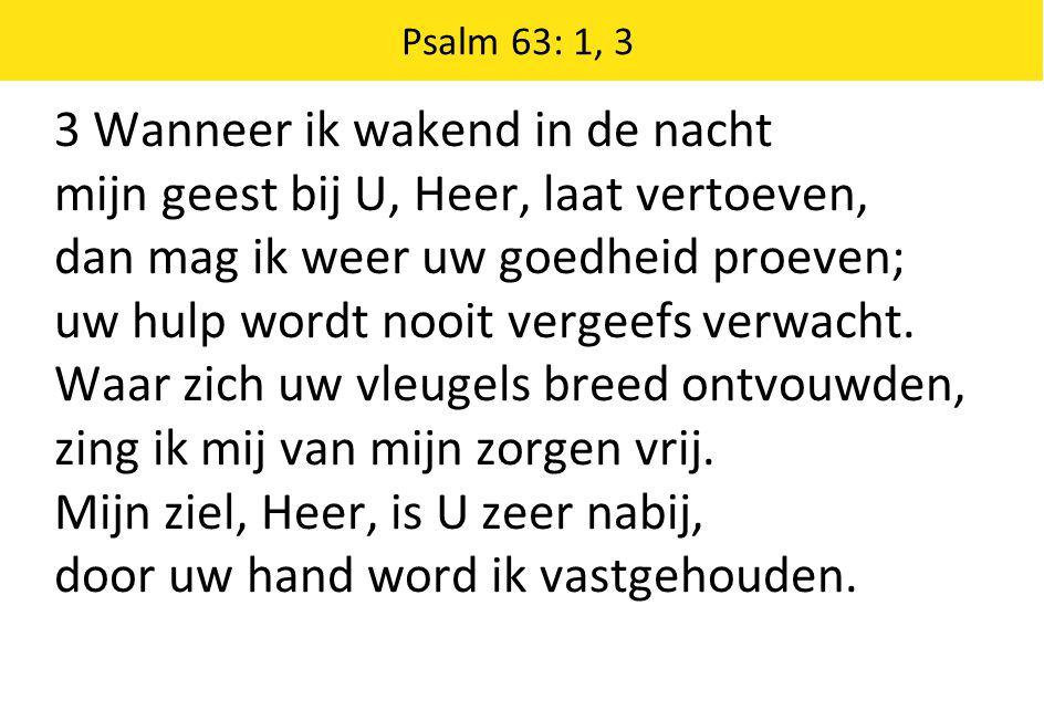 3 Wanneer ik wakend in de nacht mijn geest bij U, Heer, laat vertoeven, dan mag ik weer uw goedheid proeven; uw hulp wordt nooit vergeefs verwacht.