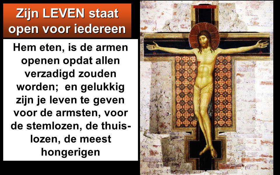 Zij zeiden tot Hem: 'Heer, geef ons altijd dat brood.' Jezus sprak tot hen: 'Ik ben het brood des levens: wie tot Mij komt zal geen honger meer hebben
