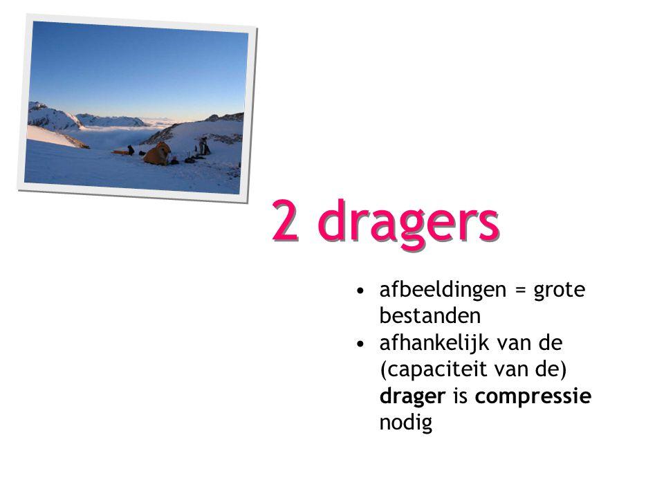 2 dragers afbeeldingen = grote bestanden afhankelijk van de (capaciteit van de) drager is compressie nodig