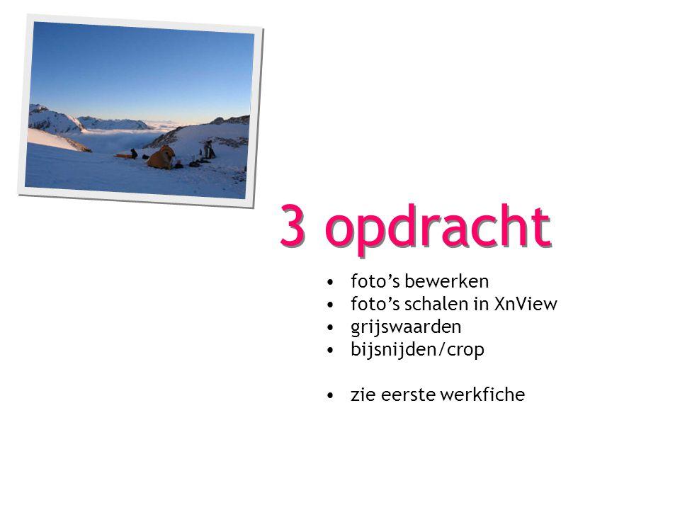 3 opdracht foto's bewerken foto's schalen in XnView grijswaarden bijsnijden/crop zie eerste werkfiche