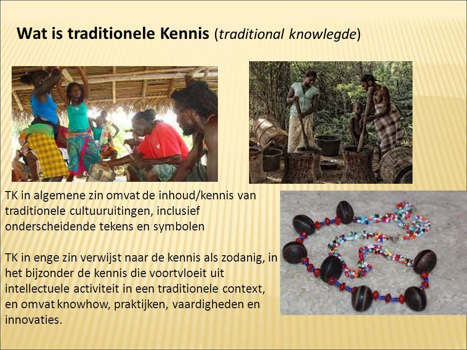 TK in algemene zin omvat de inhoud/kennis van traditionele cultuuruitingen, inclusief onderscheidende tekens en symbolen TK in enge zin verwijst naar