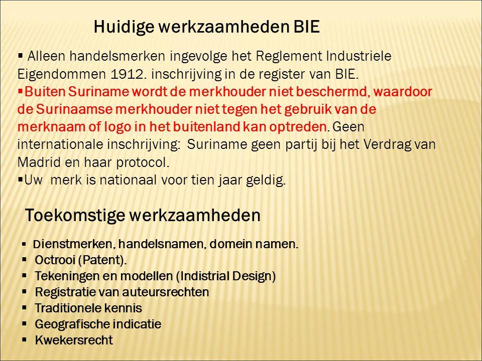  Alleen handelsmerken ingevolge het Reglement Industriele Eigendommen 1912. inschrijving in de register van BIE.  Buiten Suriname wordt de merkhoude