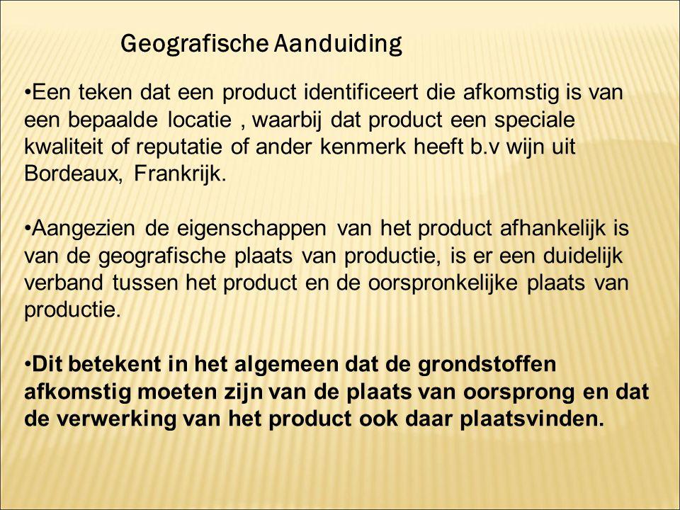 Een teken dat een product identificeert die afkomstig is van een bepaalde locatie, waarbij dat product een speciale kwaliteit of reputatie of ander ke