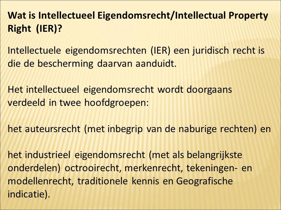 Wat is Intellectueel Eigendomsrecht/Intellectual Property Right (IER)? Intellectuele eigendomsrechten (IER) een juridisch recht is die de bescherming