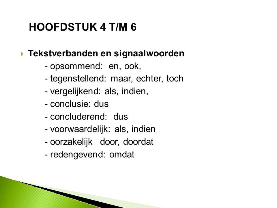 HOOFDSTUK 4 T/M 6  Schema of samenvatting (H5)  Informatieve teksten (H6)