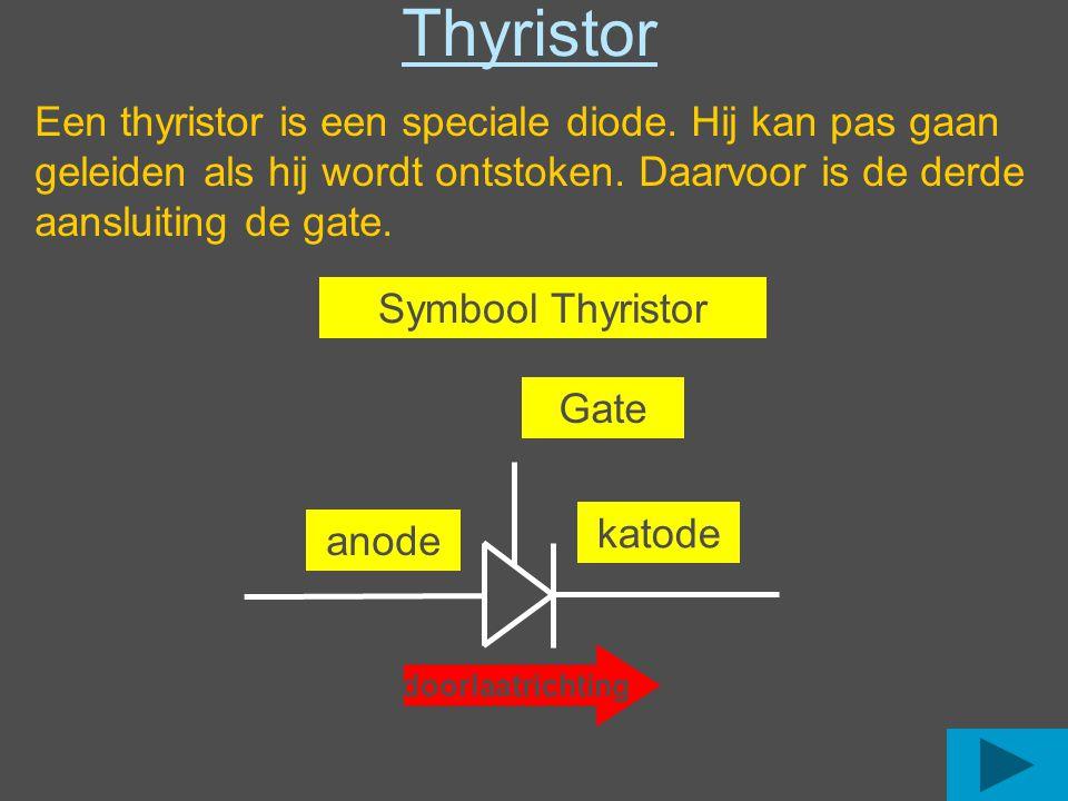 Symbool Thyristor Thyristor doorlaatrichting anode katode Gate Een thyristor is een speciale diode.