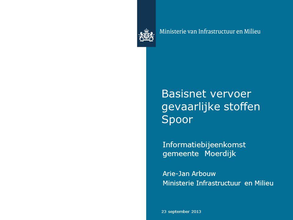 23 september 2013 Basisnet vervoer gevaarlijke stoffen Spoor Informatiebijeenkomst gemeente Moerdijk Arie-Jan Arbouw Ministerie Infrastructuur en Mili