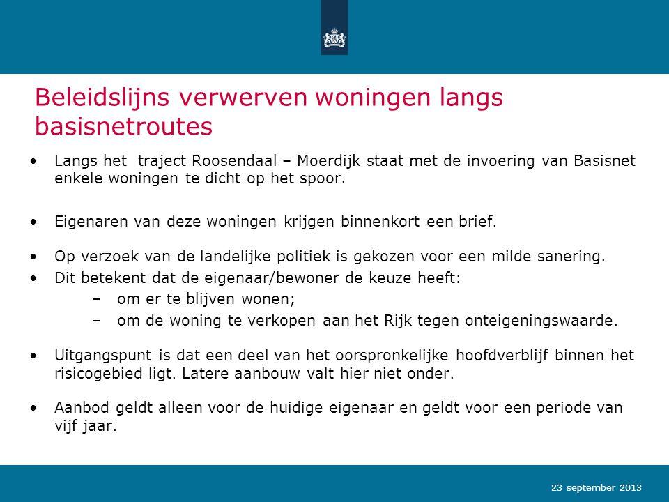 Beleidslijns verwerven woningen langs basisnetroutes Langs het traject Roosendaal – Moerdijk staat met de invoering van Basisnet enkele woningen te di
