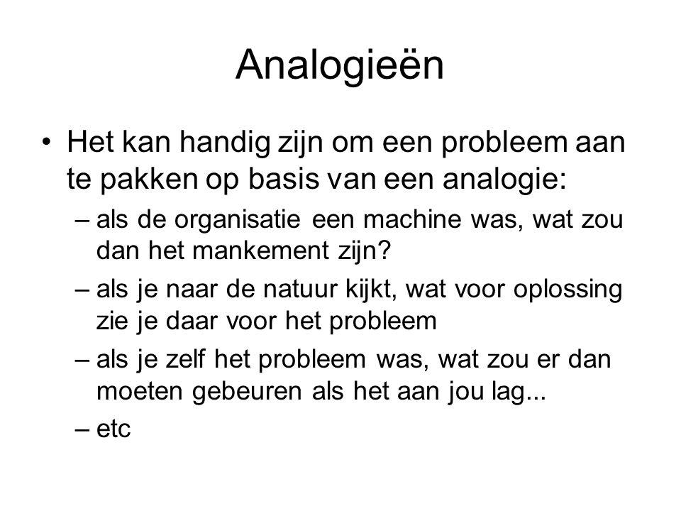 Analogie Analogie is een overeenkomst tussen twee 'objecten' die op het eerste gezicht weinig of niets gemeenschappelijk hebben Leert soms nieuwe of verrassende visies en inzichten op
