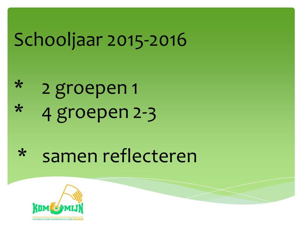 Schooljaar 2015-2016 * 2 groepen 1 * 4 groepen 2-3 * samen reflecteren