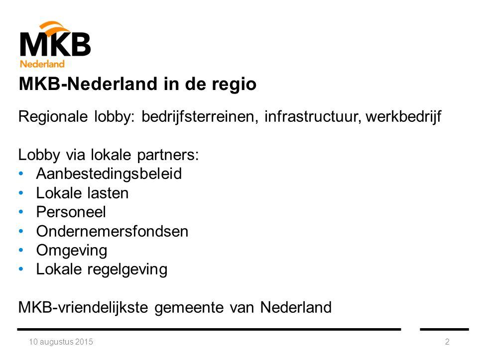 10 augustus 20152 Regionale lobby: bedrijfsterreinen, infrastructuur, werkbedrijf Lobby via lokale partners: Aanbestedingsbeleid Lokale lasten Personeel Ondernemersfondsen Omgeving Lokale regelgeving MKB-vriendelijkste gemeente van Nederland MKB-Nederland in de regio