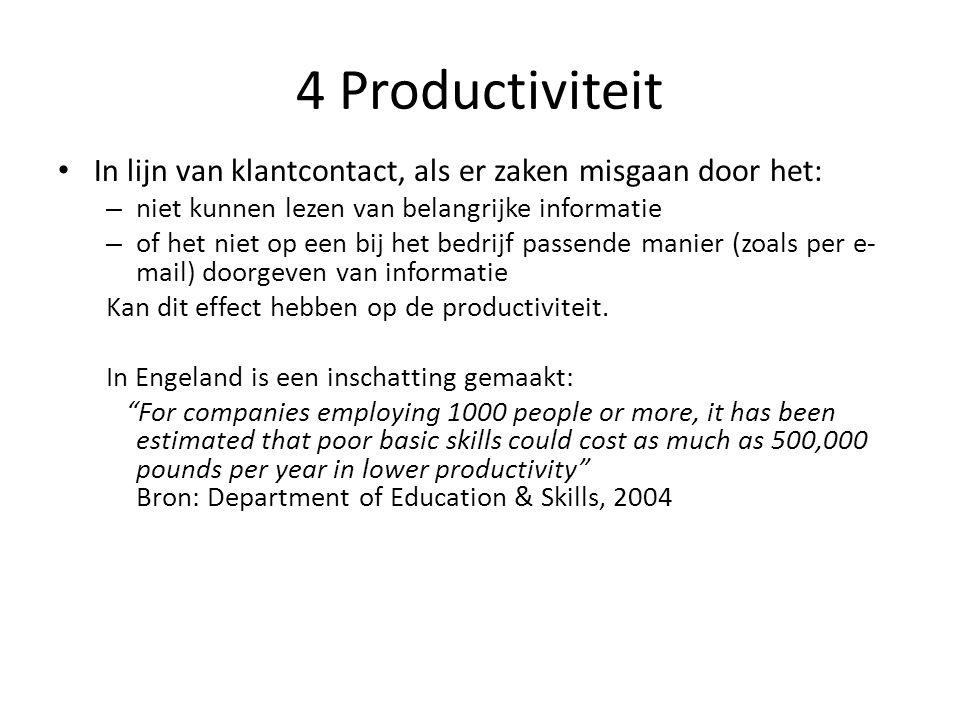 4 Productiviteit In lijn van klantcontact, als er zaken misgaan door het: – niet kunnen lezen van belangrijke informatie – of het niet op een bij het