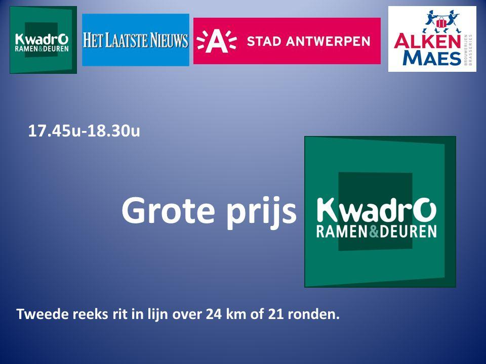 17.45u-18.30u Grote prijs Tweede reeks rit in lijn over 24 km of 21 ronden.
