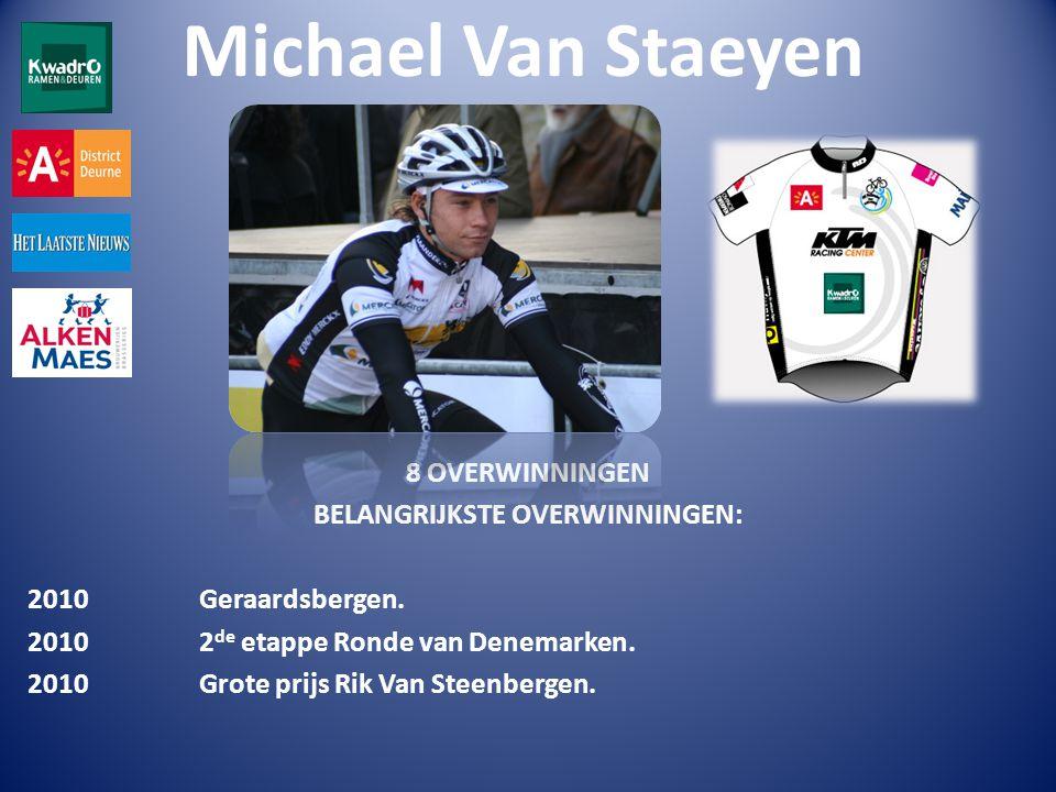 Michael Van Staeyen 8 OVERWINNINGEN BELANGRIJKSTE OVERWINNINGEN: 2010 Geraardsbergen.
