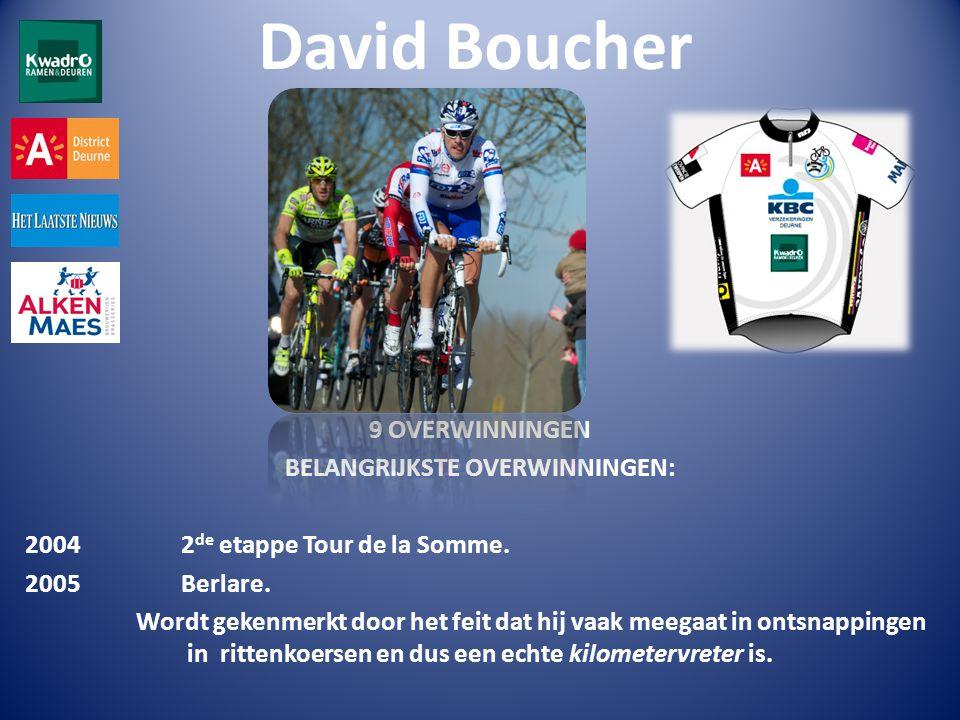 David Boucher 9 OVERWINNINGEN BELANGRIJKSTE OVERWINNINGEN: 2004 2 de etappe Tour de la Somme.