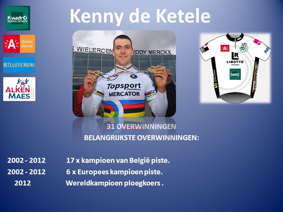Kenny de Ketele 31 OVERWINNINGEN BELANGRIJKSTE OVERWINNINGEN: 2002 - 2012 17 x kampioen van België piste.