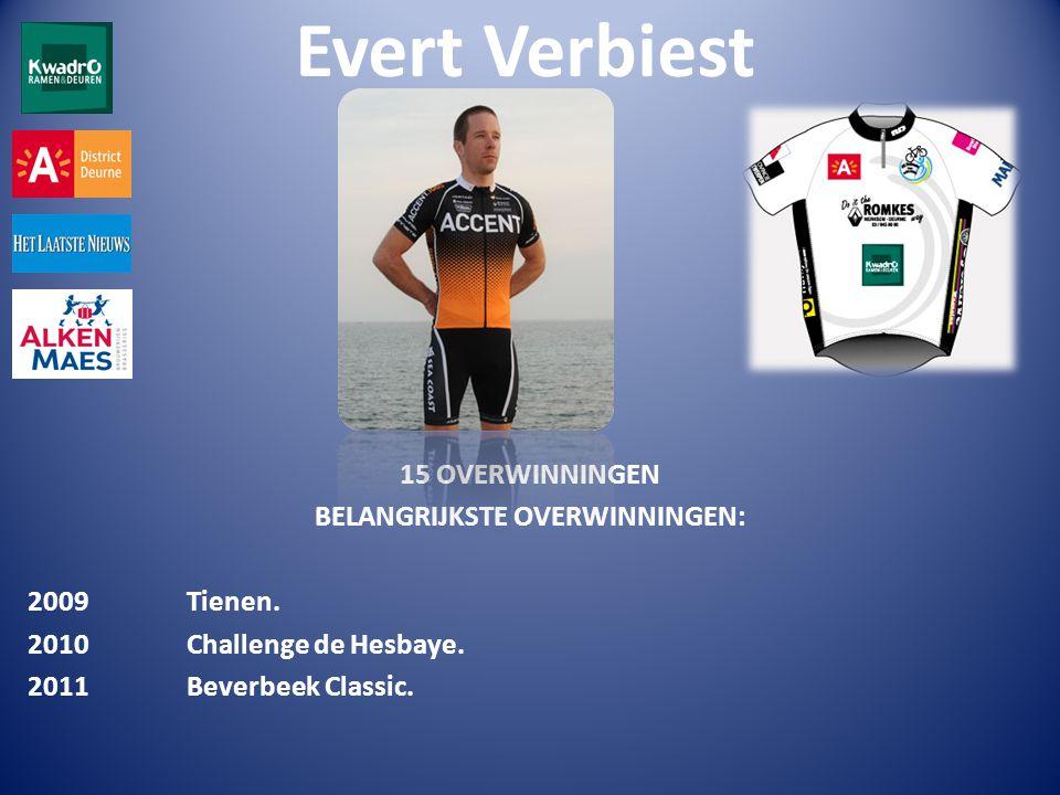 Evert Verbiest 15 OVERWINNINGEN BELANGRIJKSTE OVERWINNINGEN: 2009 Tienen.
