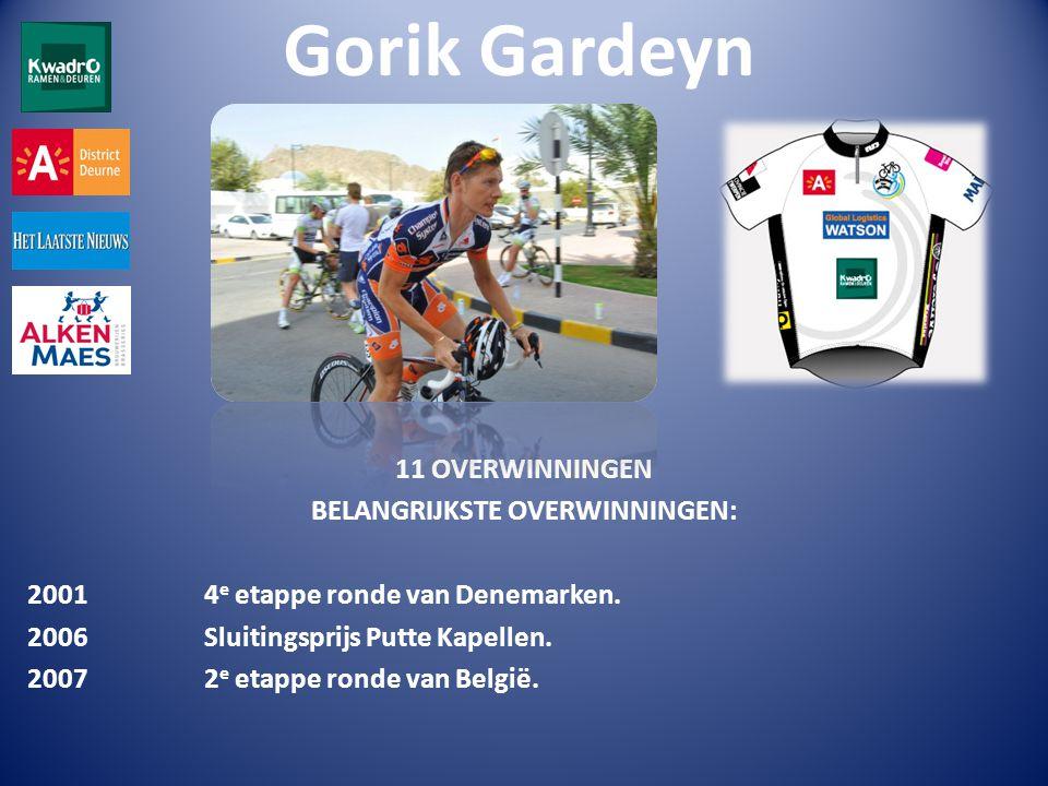 Gorik Gardeyn 11 OVERWINNINGEN BELANGRIJKSTE OVERWINNINGEN: 2001 4 e etappe ronde van Denemarken.