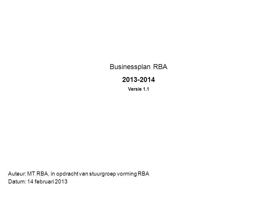 Businessplan RBA 2013-2014 Versie 1.1 Auteur: MT RBA, in opdracht van stuurgroep vorming RBA Datum: 14 februari 2013