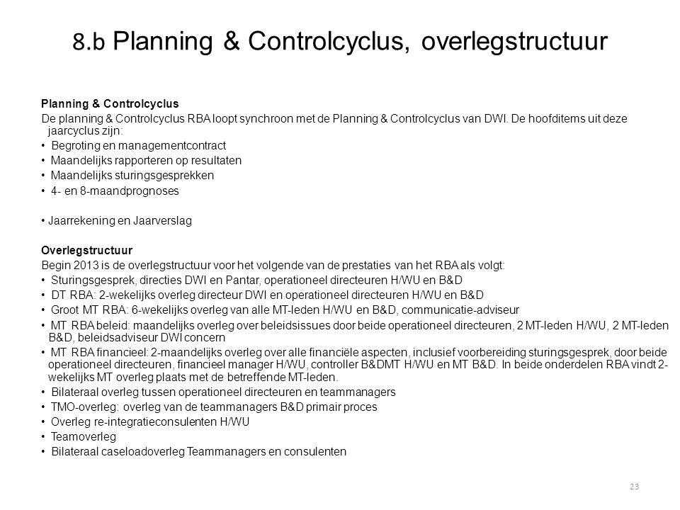8.b Planning & Controlcyclus, overlegstructuur Planning & Controlcyclus De planning & Controlcyclus RBA loopt synchroon met de Planning & Controlcyclu