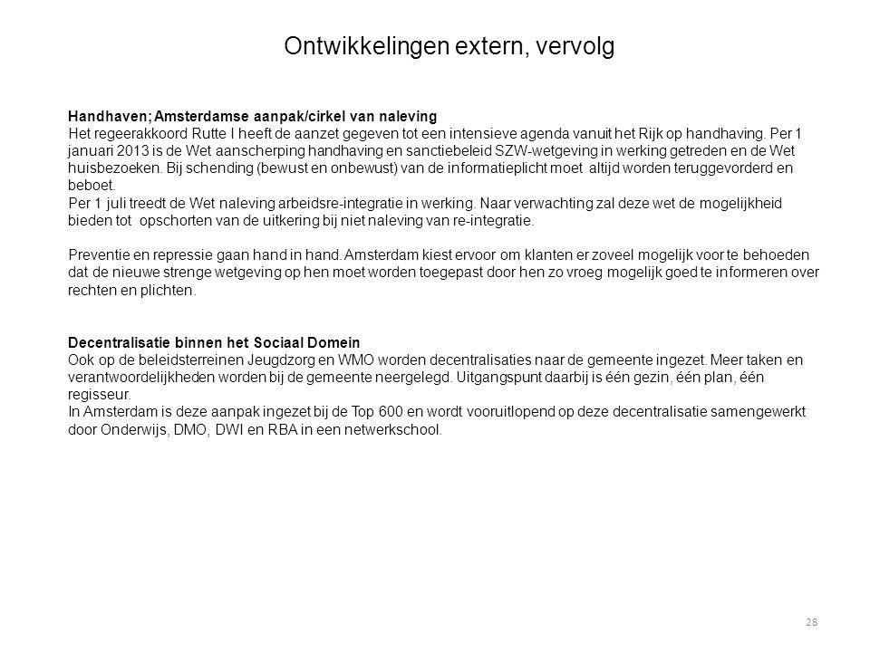 Ontwikkelingen extern, vervolg Handhaven; Amsterdamse aanpak/cirkel van naleving Het regeerakkoord Rutte I heeft de aanzet gegeven tot een intensieve