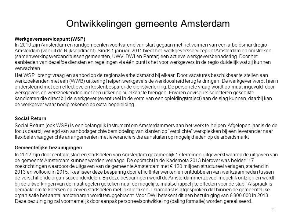 Ontwikkelingen gemeente Amsterdam Werkgeversservicepunt (WSP) In 2010 zijn Amsterdam en randgemeenten voortvarend van start gegaan met het vormen van