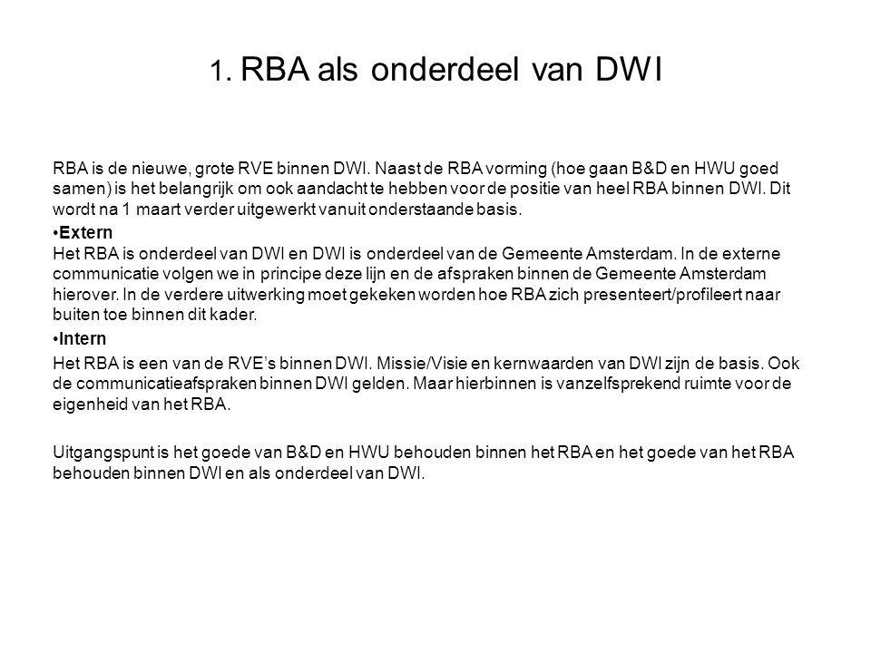 1. RBA als onderdeel van DWI RBA is de nieuwe, grote RVE binnen DWI. Naast de RBA vorming (hoe gaan B&D en HWU goed samen) is het belangrijk om ook aa