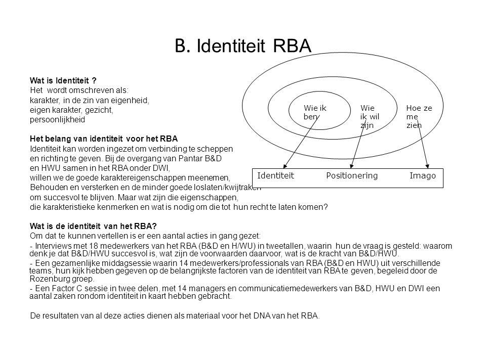 B. Identiteit RBA Wat is Identiteit ? Het wordt omschreven als: karakter, in de zin van eigenheid, eigen karakter, gezicht, persoonlijkheid Het belang