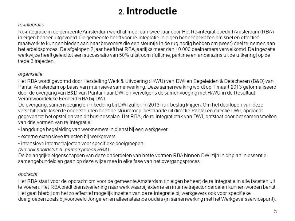 2. Introductie re-integratie Re-integratie in de gemeente Amsterdam wordt al meer dan twee jaar door Het Re-integratiebedrijf Amsterdam (RBA) in eigen