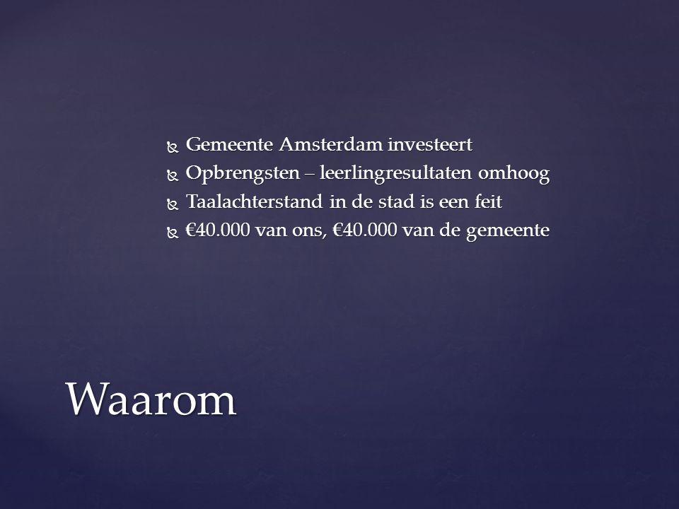  Gemeente Amsterdam investeert  Opbrengsten – leerlingresultaten omhoog  Taalachterstand in de stad is een feit  €40.000 van ons, €40.000 van de g