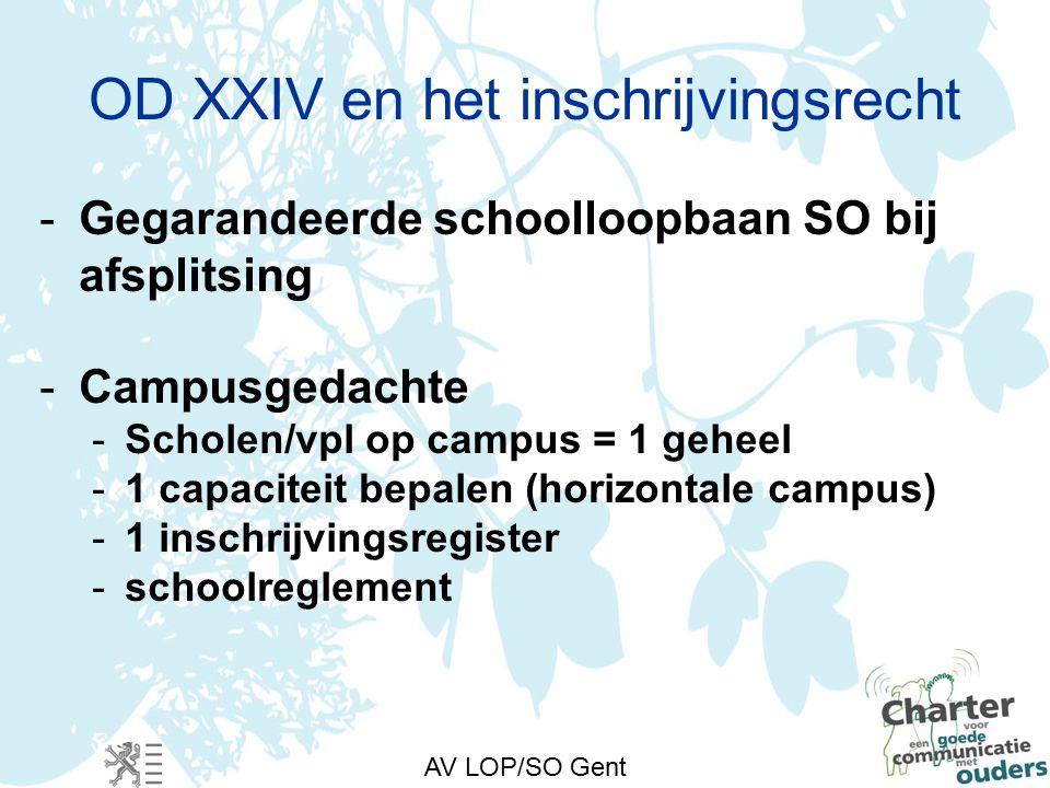 AV LOP/SO Gent OD XXIV en het inschrijvingsrecht -Gegarandeerde schoolloopbaan SO bij afsplitsing -Campusgedachte -Scholen/vpl op campus = 1 geheel -1 capaciteit bepalen (horizontale campus) -1 inschrijvingsregister -schoolreglement