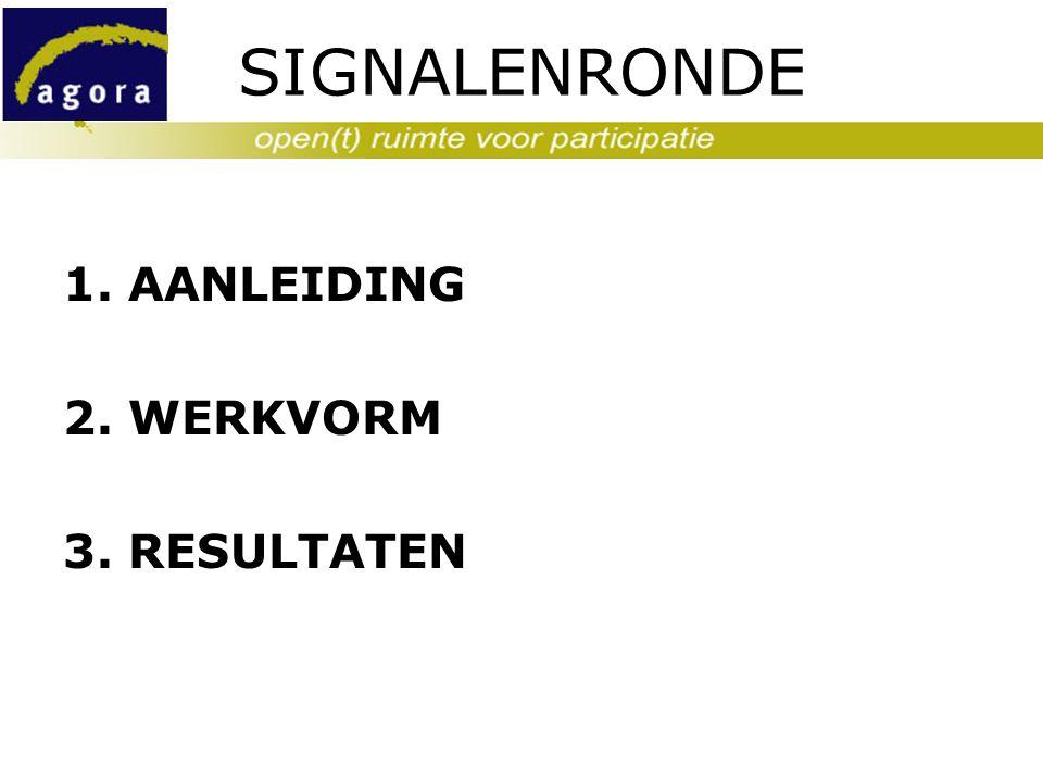 SIGNALENRONDE 1. AANLEIDING 2. WERKVORM 3. RESULTATEN