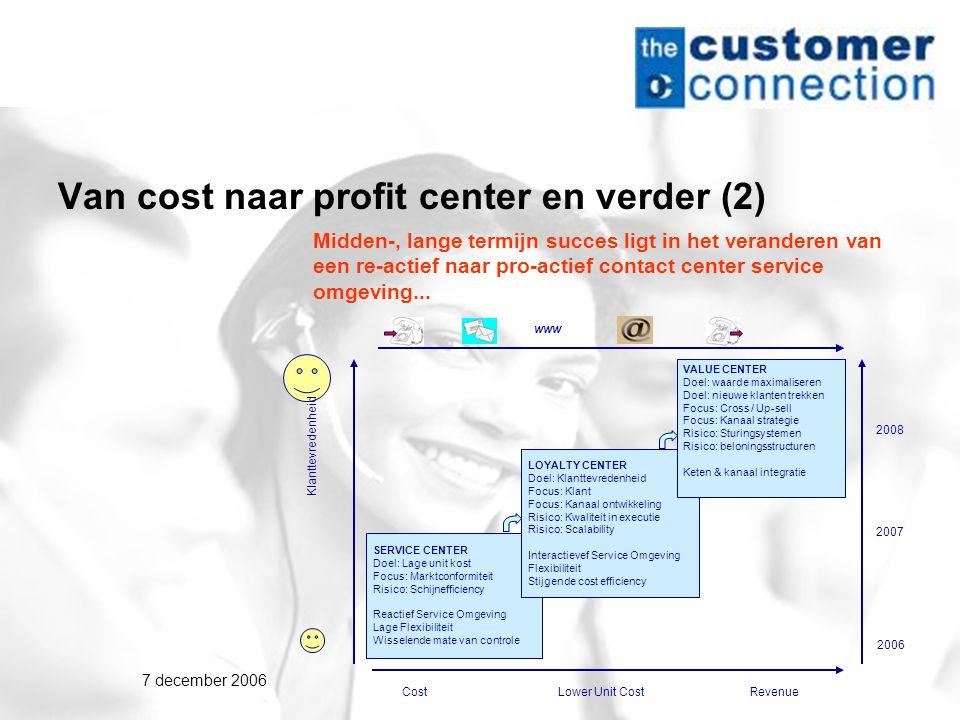 7 december 2006 Van cost naar profit center en verder (2) Midden-, lange termijn succes ligt in het veranderen van een re-actief naar pro-actief contact center service omgeving...